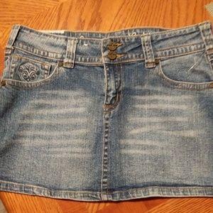 Industrial Cotton Distressed Jean Mini Skirt